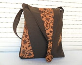 Brown Canvas Messenger Bag With Batik and Gadget Pocket With Accessory