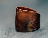 Copper Dome Ring-Ancient Style Texture and Tone-Antique Copper Ring Cuff