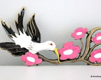 1 x Black and White Bird with Pink Flowers Bronze Tone Pendant