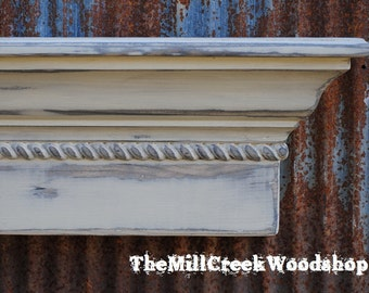 Distressed Wall Shelf 36 Inches Antique White Distressed Shelf Ledge Mantel