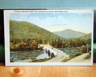 Vintage Postcard, Mohawk Trail, Deerfield River, Massachusetts, 1920s Paper Ephemera