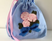 Small Toiletry Drawstring Pouch ~ Pink & Blue Punch Needle Pouch ~ Floral Garden Rose Gift Bag or Purse ~ Handmade Reuseable Accent Clutch