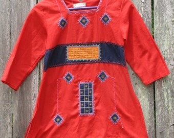 Sale**Kids Vintage Green Linen Hand Embroidered Short Sleeved Tunic