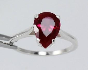Sterling Silver Ruby Ring (Lab) July Birthstone / Pear Cut Ruby Ring Silver FREE RE-SIZING