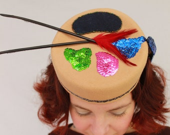 Custom Order: 1940s Style Painter's Palette Wool Felt Tilt Hat with Sequined Paint & Feather Brushes