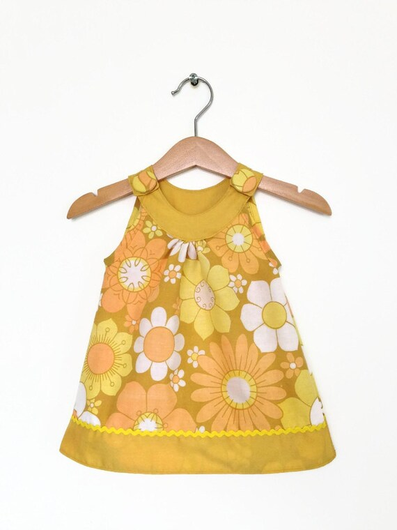 baby dress 0 to 6 months yellow vintage florals by