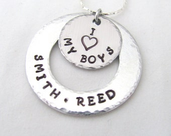 Hand Stamped Washer Necklace, Custom, Personalized, I Love My Boys or Girls and Names, Charms