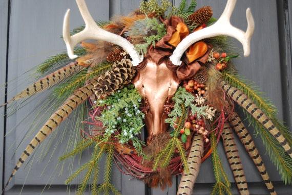 Wildlife Antler Wreath Copper Mule Deer