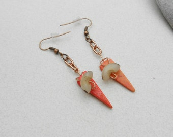 Handmade Pierced earrings using natural Manol Buri nut beads and coral color coconut tusks, copper french loops and copper chains