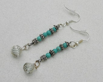 Pierced earrings caged sea glass and turquoise Tibetan silver beads handmade jewelry
