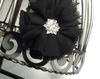 Black vintage inspired hair clip with beautiful rhinestone center, shabby chic black flower hair clip hair accessory