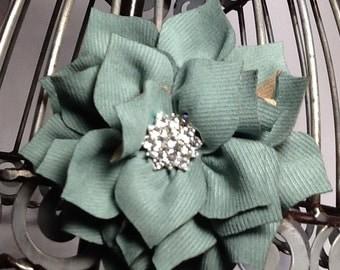 Green flower hair clip, sage green flower w/ blingy center girls hair clips, green hair accessories green hair clips. baby hair accessory