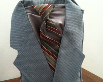 Upcycled Suit Wine Tote Carrier Bag