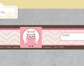 Personalized  Water Bottle Label, Chevron and Owls Collection / Pink / Brown / Girl / Baby Shower / Printable