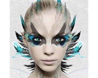 Fantasy portrait, digital print, modern portrait, photomontage, abstract, digital art, fine art, contemporary art, modern art, home decor