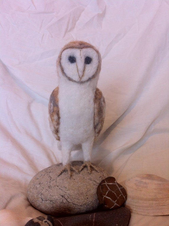 Needle Felted Handmade Miniature Barn Owl Sculpture - Felt Ornament Ready to be Shipped