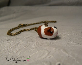 Little guinea pig necklace - polymer clay - handmade