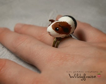 Little guinea pig ring - polymer clay - handmade