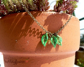 Initial necklace  - 3 custom letters leaves and svarovski crystal- Mother's day