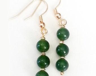 Dark Jade Gemstone Dangling earrings