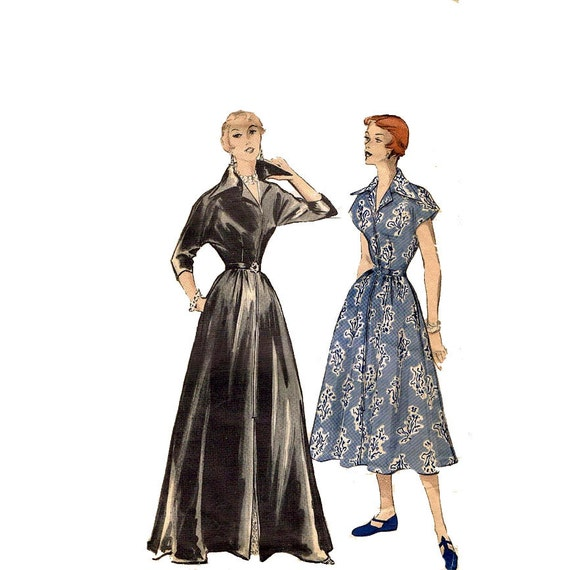 1950s Vintage Full Length Housecoat Pattern Butterick 5375 Kimono Sleeve I Love Lucy Brunch Coat Vintage Sewing Pattern Bust 34