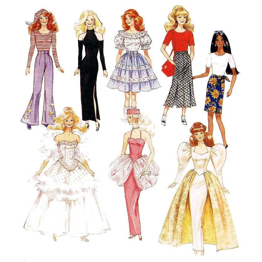 90er jahre barbie kleidung muster mccalls 874 fashion dolls. Black Bedroom Furniture Sets. Home Design Ideas