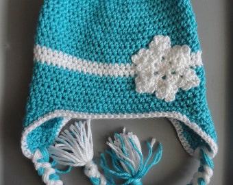 Turquoise Snowflake EarFlap Hat