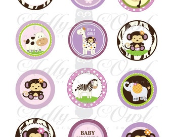 CoCaLo Jacana Jungle Girl Baby Shower Printable Cupcake Toppers, Favor Tags with monkey, zebra, giraffe and hippo - you print