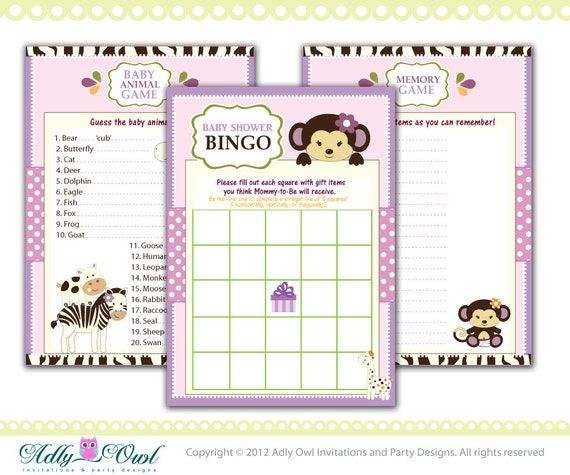 memory game animal game printable card for baby girl jungle shower