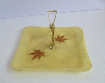 Vintage Tray Fiberglass Square Serving Platter Relish Tray with Handle Maple Leaves Dinnerware