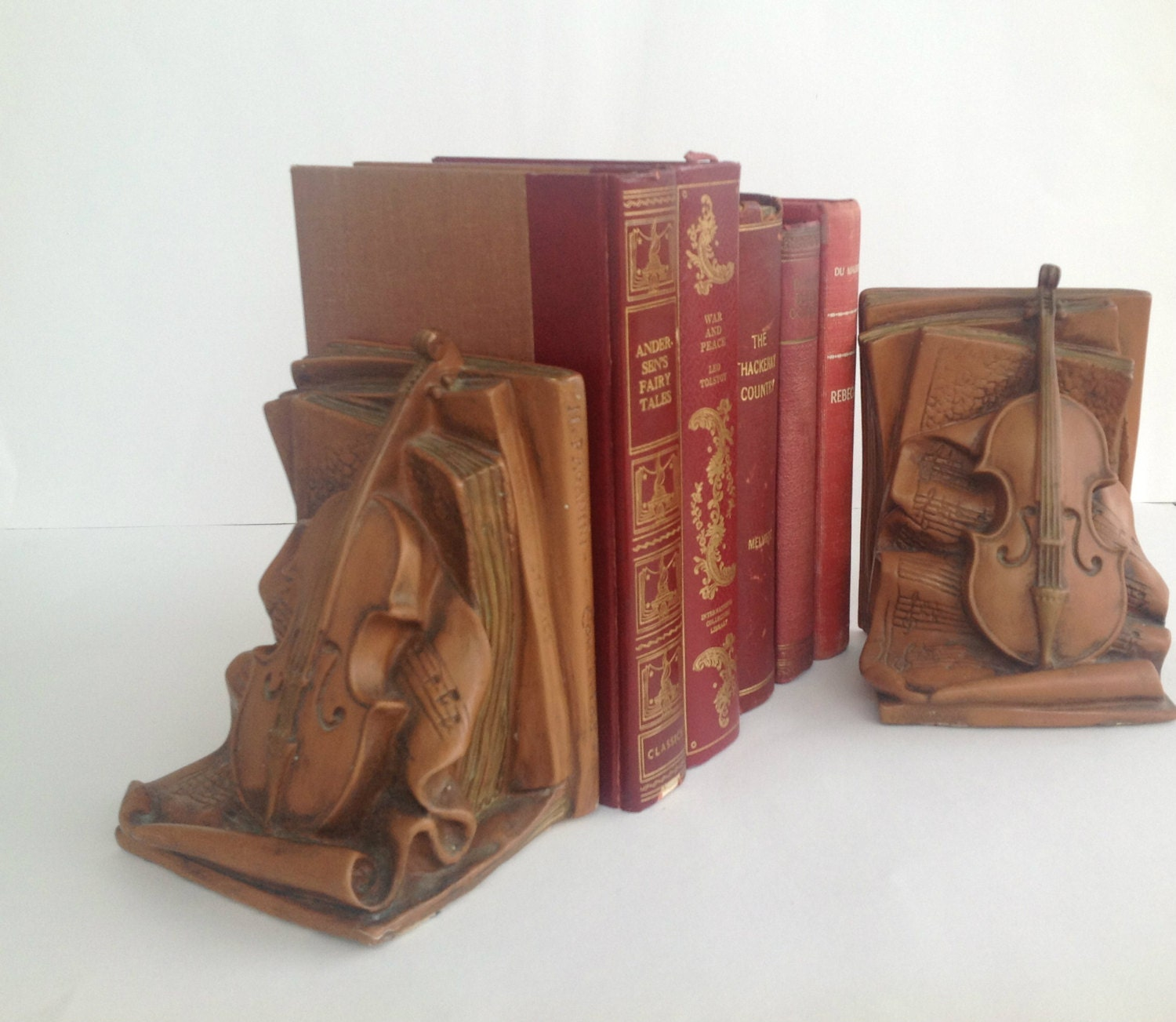 Vintage Violin Bookends Paganini Book Shelf And Home Decor