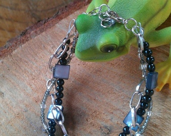 Silver Chain and Black Bead Bracelet