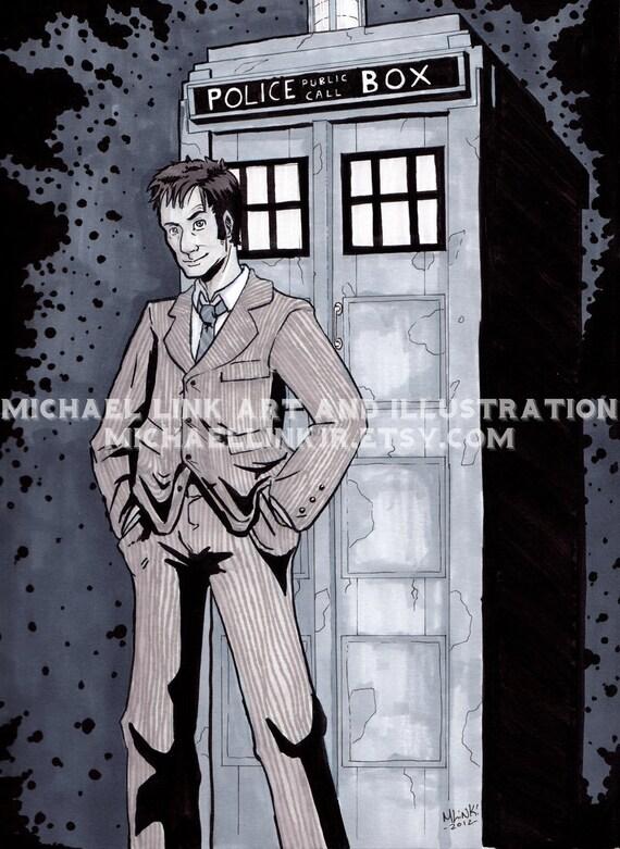 Doctor Who and TARDIS Original Illustration (Ink & Marker)