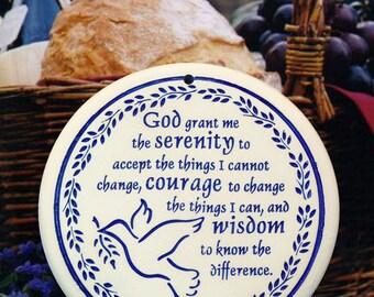 Serenity Prayer Porcelain Bread and Bun Warmer