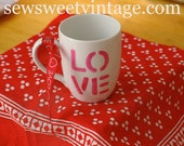 LOVE cup for Valentines Day, coffee, cappuccino, cocoa, tea, hand painted, mug, gift