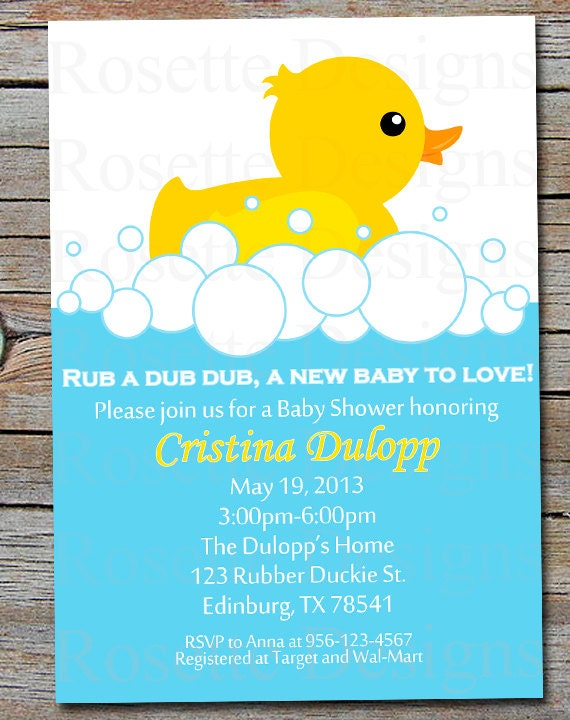 PDF RUBBER DUCKIE baby shower invitation Rubber Duck tub