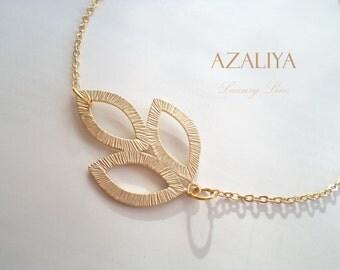 Gold Vermeil Chain Bracelet with Leaf Charm. Azaliya Luxury Line. Friendship Bracelet. Bridesmaids Gifts.