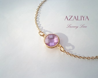 Purple Rosé Stone Bracelet. Oval Bezel Stone Bracelet. Gold Vermeil Chain Bracelet. Azaliya Luxury Line. Bridesmaid Bracelet.