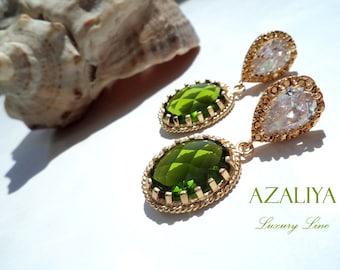 Zirconia Princess Dangles. Green Quartz Crystals on Cubic Zirconia Studs. Azaliya Luxury Line. Brides, Bridesmaids Earrings. Gifts.