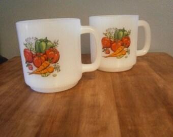 Set of 2 Glasbake Milk Glass Coffee Mugs with Vegetable Print