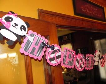 Panda Birthday Banner - Panda Birthday Party - Pink, Black, and White - Polka Dots
