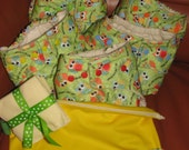 One size cloth diapers pack of 3, wet /dry bag, cloth wipes, soakers
