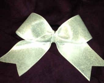White/Silver holograph Cheer Bow