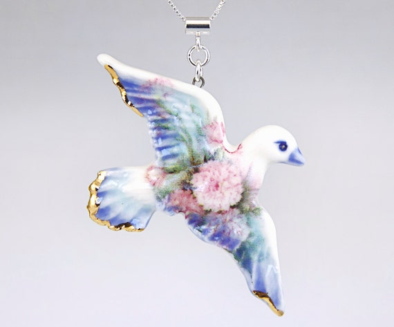 She's Flown Right Off The Teacup - Victorian sweetheart dove porcelain pendant with sterling silver necklace in pale blue with camellias