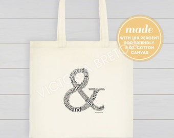 "Ampersand (&) - 14"" x 13.4"" x 2.3"" typography tote, and symbol, inspirational quote, cotton canvas bag, eco-friendly bag, beach, christmas"