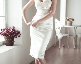 Fitted Style Short Wedding Dress with Lace Jacket M13, Romantic wedding gown, Classic bridal dress, Simple Wedding Dress, Reception Dress