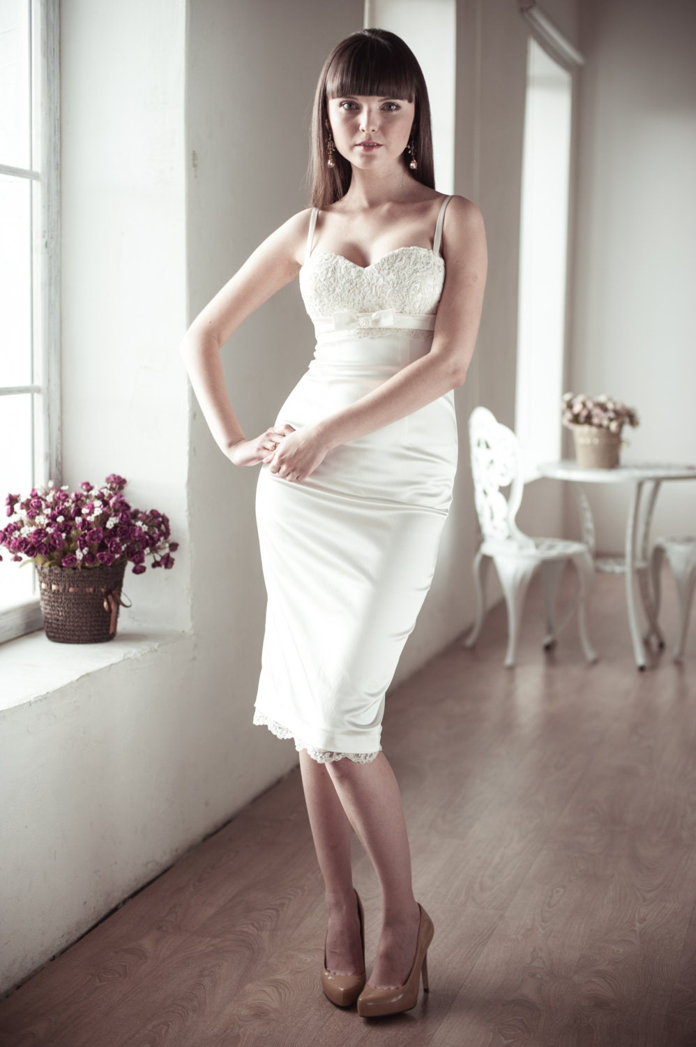 Fitted Style Short Wedding Dress With Lace By ACreativeAtelier