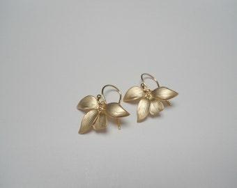 Flower earring , orchid earring gold matte , gold orchid earring