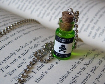 Zombie Virus 1ml Glass Bottle Necklace Charm - Walking Dead Cork Vial Pendant - Potion Goth Fantasy