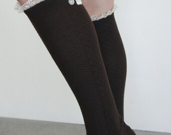Brown  Boot Socks Knee Socks Trim on top lace and buttons